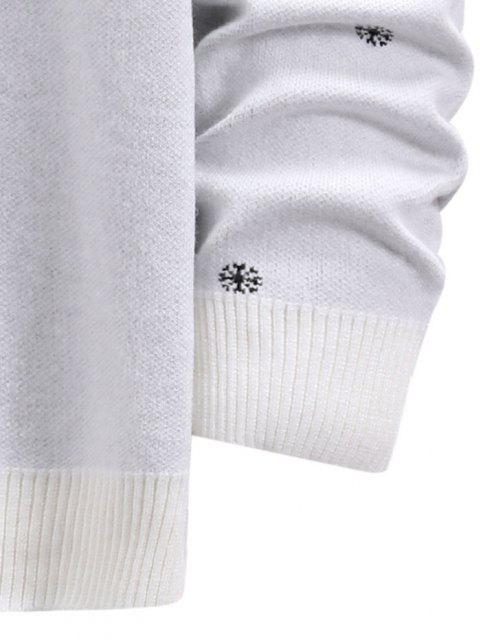 スノーフレークグラフィッククリスマスクルーネックセーター - ミルクホワイト S Mobile