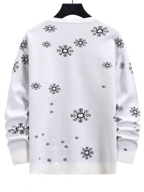 new Snowflake Graphic Christmas Crew Neck Sweater - MILK WHITE S Mobile