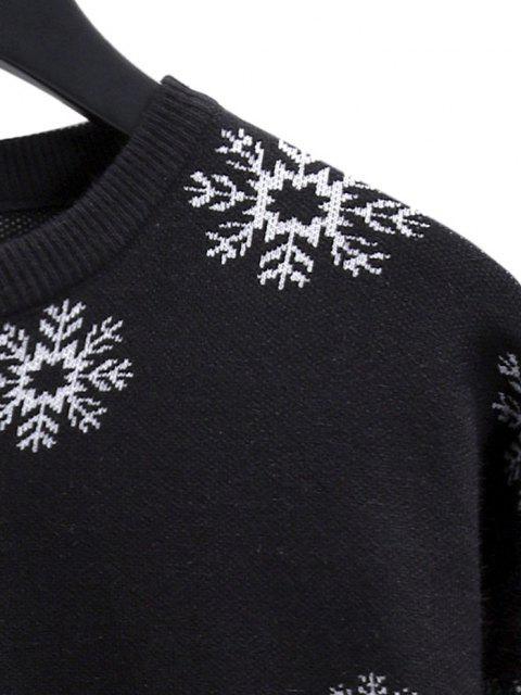 womens Snowflake Graphic Christmas Crew Neck Sweater - BLACK XS Mobile
