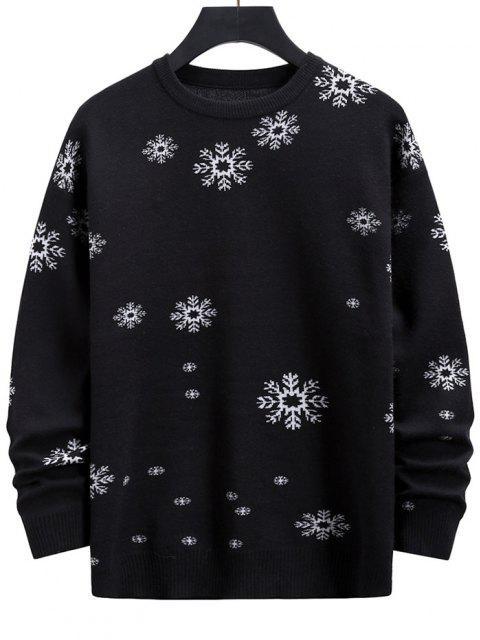 women Snowflake Graphic Christmas Crew Neck Sweater - BLACK S Mobile