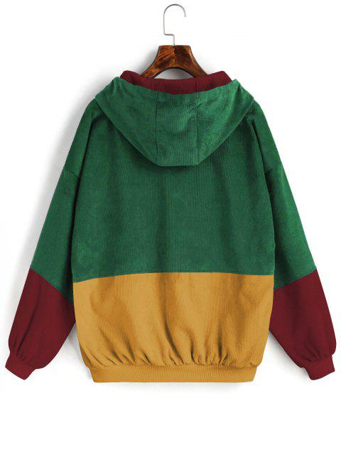 chic ZAFUL Hooded Label Colorblock Corduroy Jacket - DEEP GREEN 3XL Mobile
