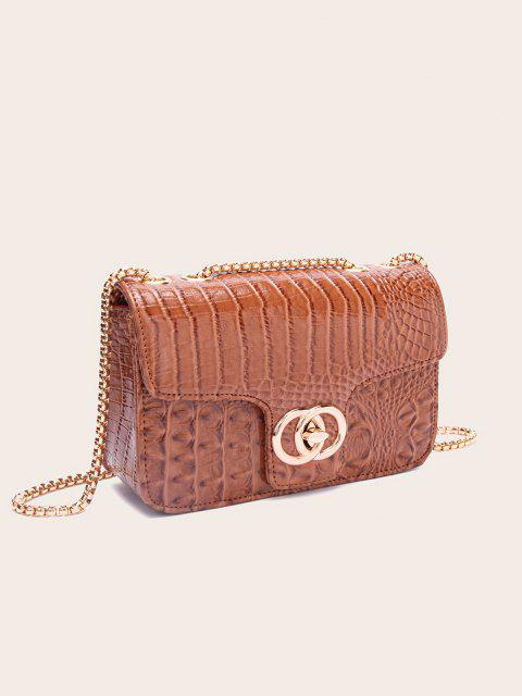 affordable Retro Snakeskin Pattern Chain Bag - DEEP COFFEE  Mobile