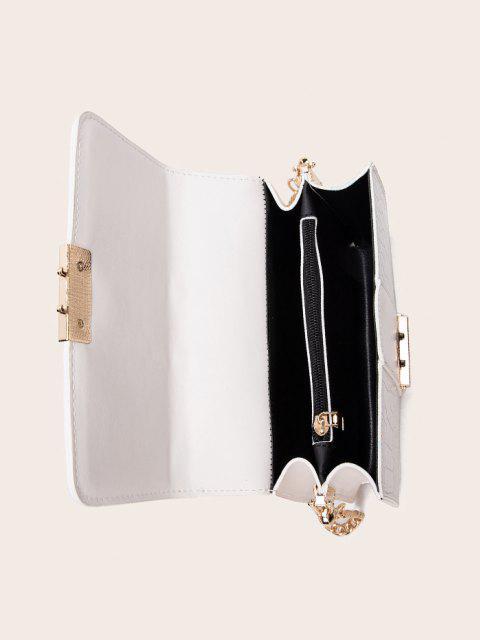 Cadena de La Cubierta del Rectángulo del Bolso de Crossbody - Blanco  Mobile