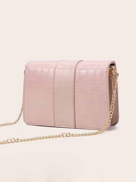 women Chain Rectangle Cover Crossbody Bag - LIGHT PINK  Mobile