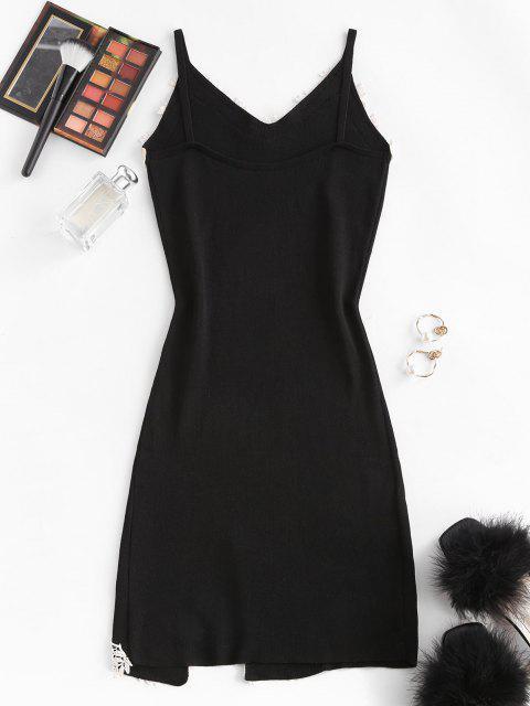 꽃 applique 니트 슬릿 바디 콘 미니 드레스 - 검정 한 사이즈 Mobile