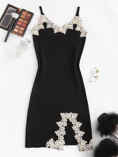 online Flower Applique Knitted Slit Bodycon Mini Dress - BLACK ONE SIZE Mobile