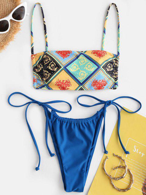 ladies ZAFUL Bohemian Scarf Print Tie Side String Bikini Swimwear - MULTI S Mobile