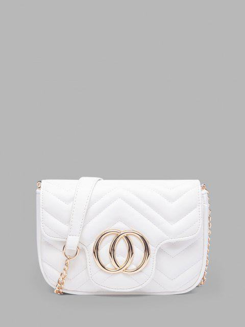 outfit Circle Pattern Quilted Crossbody Bag - WHITE  Mobile