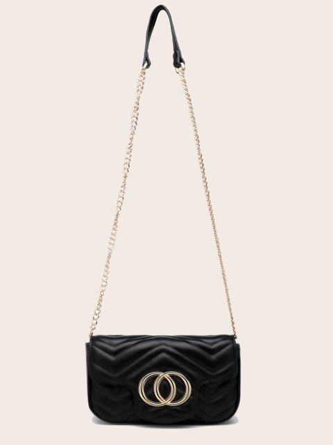 outfits Circle Pattern Quilted Crossbody Bag - BLACK  Mobile