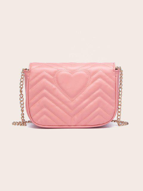 shop Circle Pattern Quilted Crossbody Bag - LIGHT PINK  Mobile