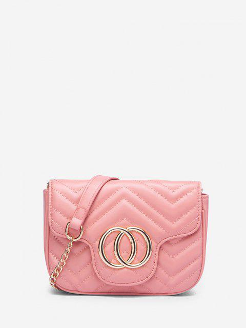 Circle Pattern Quilted Crossbody Bag - وردي فاتح  Mobile