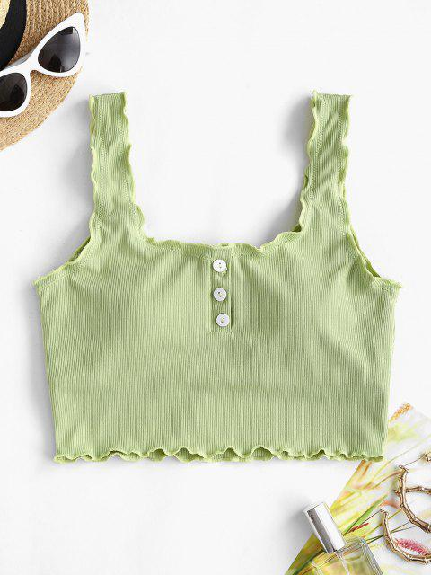 ZAFUL Ribbed Lettuce Trim Buttoned Swim Top - اخضر فاتح S Mobile