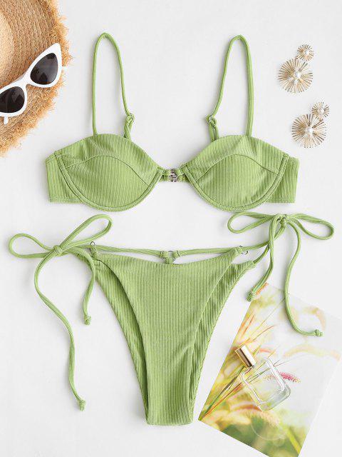 ZAFUL Maillot de Bain Bikini Côtelé Noué à Côté à Armature - Vert clair M Mobile