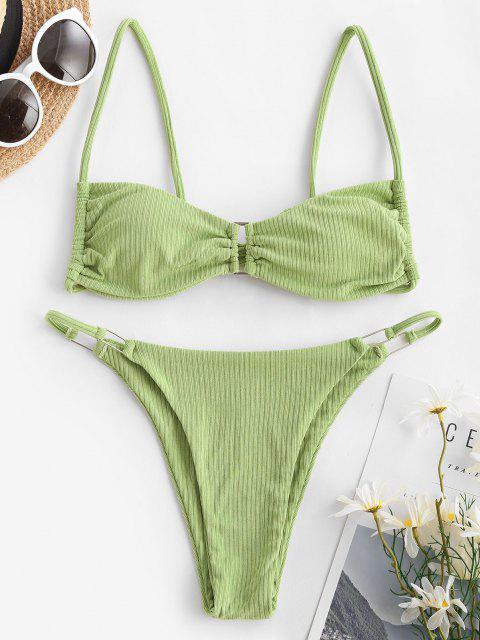 Bikini di ZAFUL a Costine con Anelli - Verde chiaro M Mobile
