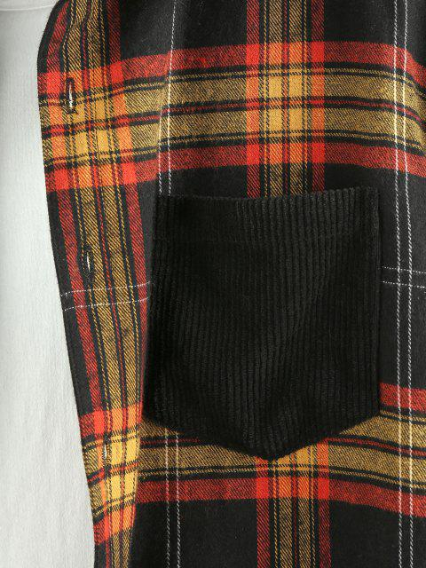 ladies ZAFUL Plaid Panel Button Up Corduroy Shirt - MULTI M Mobile