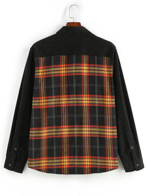 lady ZAFUL Plaid Panel Button Up Corduroy Shirt - MULTI L Mobile