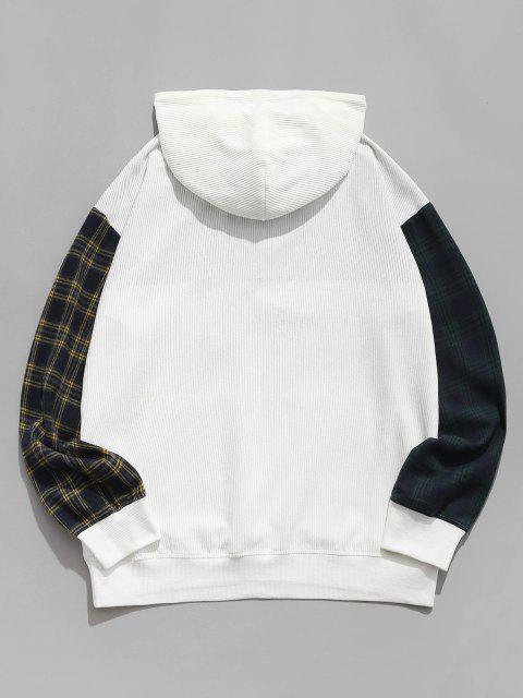 Farbblock Kariertes Muster Kord Hoodie - Weiß S Mobile