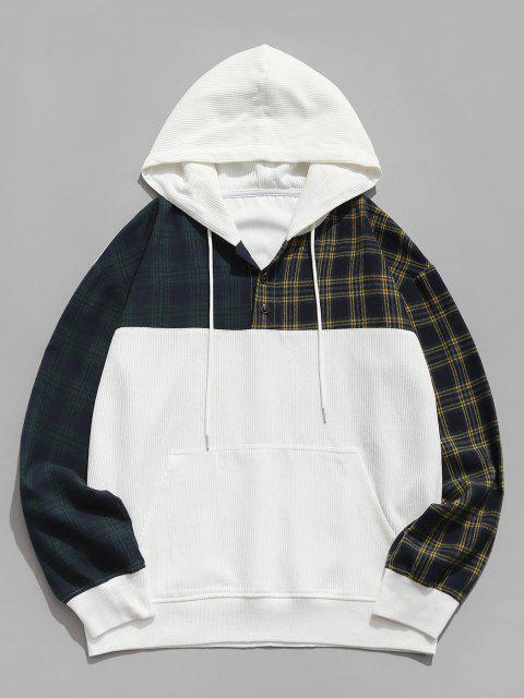 outfits Colorblock Plaid Pattern Corduroy Hoodie - WHITE S Mobile