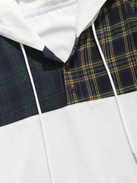 sale Colorblock Plaid Pattern Corduroy Hoodie - WHITE L Mobile