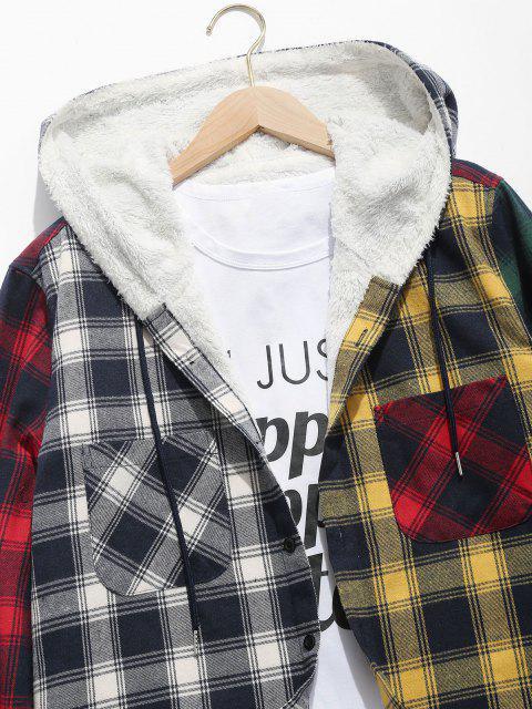 online Colorblock Plaid Pocket Fluffy Hooded Shirt Jacket - DEEP GREEN L Mobile