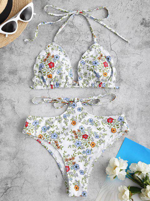 unique ZAFUL Tie Back Frilled Tiny Floral Bikini Swimwear - WHITE S Mobile
