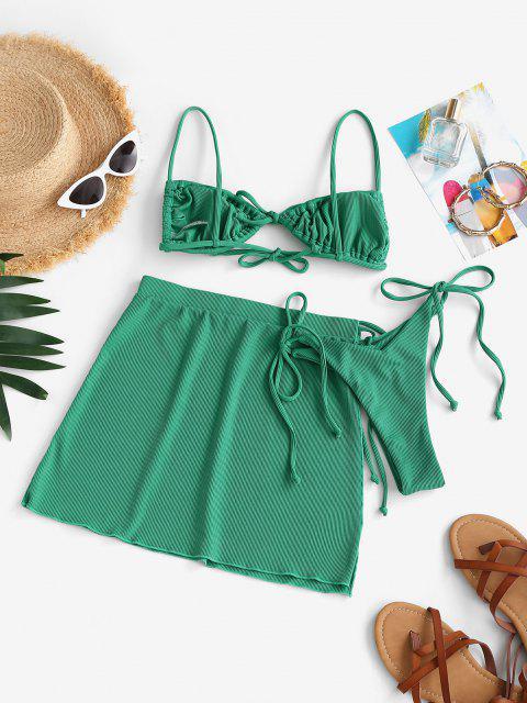 shop ZAFUL Ribbed Bowknot High Leg Three Piece String Bikini Swimwear - GREEN S Mobile
