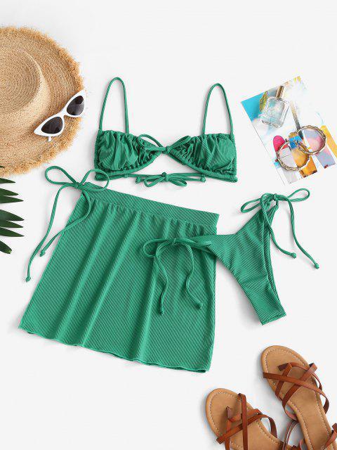shops ZAFUL Ribbed Bowknot High Leg Three Piece String Bikini Swimwear - GREEN M Mobile