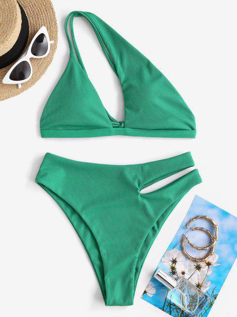 affordable ZAFUL Ribbed One Shoulder Cutout Bikini Swimwear - GREEN S Mobile