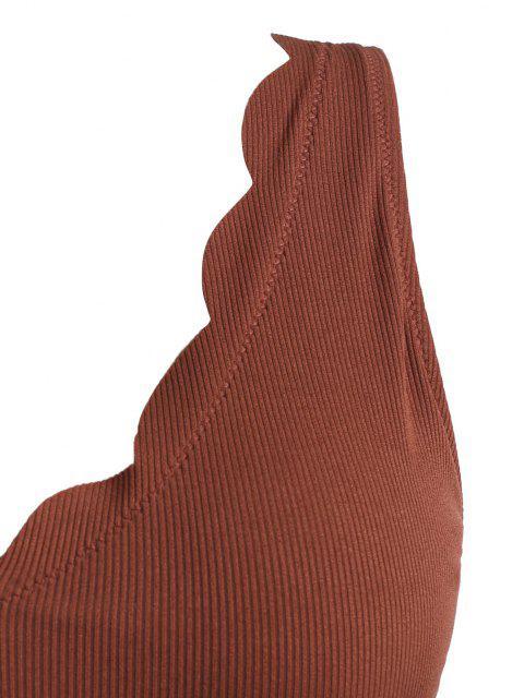 hot ZAFUL Plus Size Ribbed Scalloped Trim Tankini Swimwear - COFFEE XXL Mobile