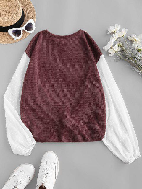 outfits ZAFUL Knit Panel Swiss Dot Sleeve Combo Top - DEEP RED M Mobile