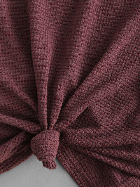 outfit ZAFUL Knit Panel Swiss Dot Sleeve Combo Top - DEEP RED S Mobile