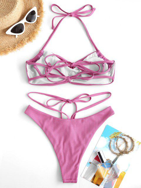 lady ZAFUL Ruched Tie Front High Cut Ribbed Bikini Swimwear - LIGHT PINK M Mobile
