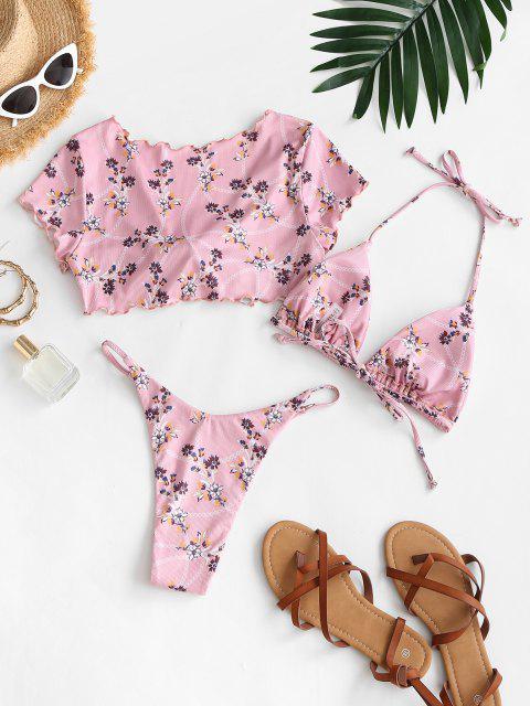 online ZAFUL Tiny Floral Ribbed Three Piece Tanga Bikini Swimwear - LIGHT PINK M Mobile