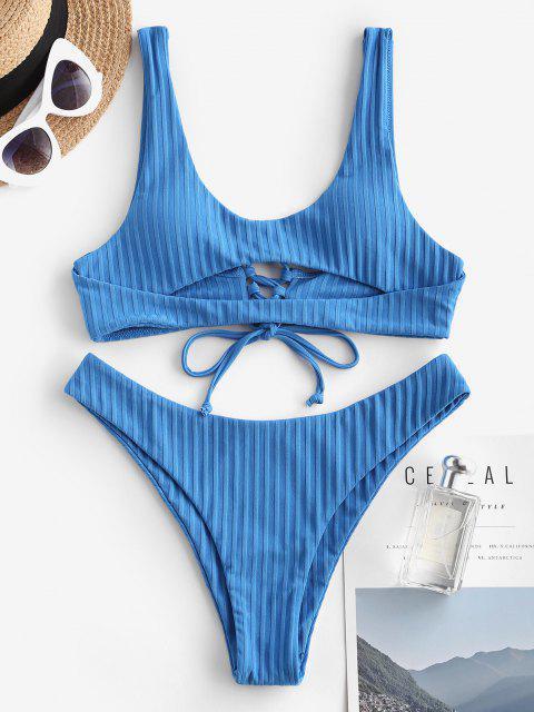 Costume da Bagno Bikini a Costine con Lacci di ZAFUL - Blu L Mobile