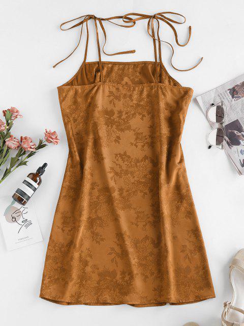 online ZAFUL Jacquard Tie Shoulder Cami Slit Dress - DEEP YELLOW L Mobile