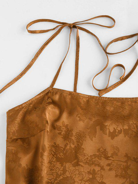 new ZAFUL Jacquard Tie Shoulder Cami Slit Dress - DEEP YELLOW XL Mobile