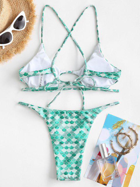 ZAFUL Kreuzer und Querer Bikini Badeanzug mit Nixedruck - Grün S Mobile