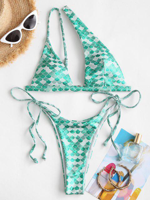 outfit ZAFUL Mermaid One Shoulder Tie Side High Leg Bikini Swimwear - GREEN M Mobile