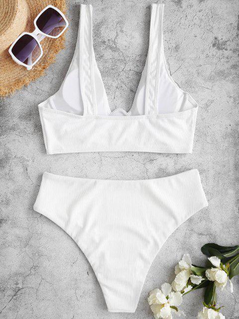 ZAFUL Gerippter Samtförmiger Tankini Badebekleidung mit Kammrücken - Weiß S Mobile