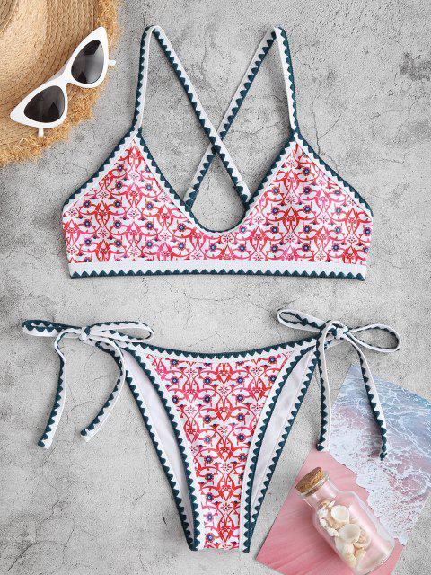womens ZAFUL Bohemian Tie Whip Stitch Print Cross Bikini Swimwear - RED M Mobile