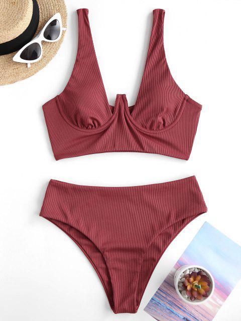 unique ZAFUL Ribbed Fuller Bust Underwire Tankini Swimwear - RED M Mobile