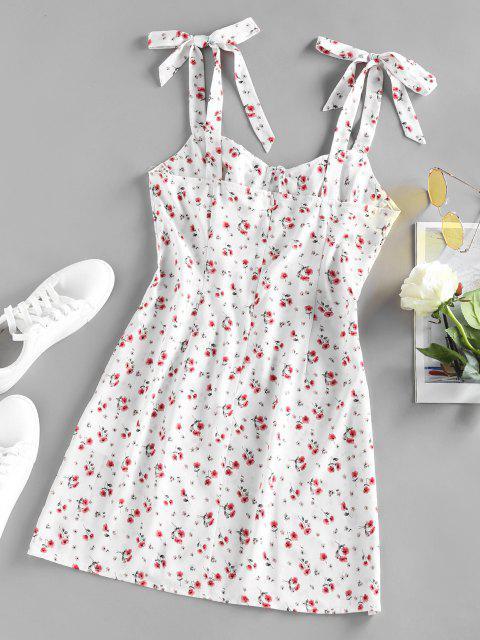 ZAFUL Ditsy Floral Tied Shoulder Slit Ruched Dress - أبيض L Mobile