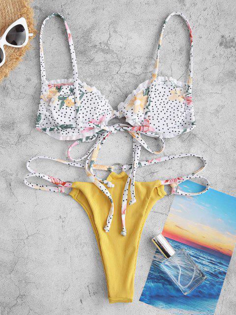 Costume da Bagno Bikini Stampato Floreale a Pois con Nodo Frontale di ZAFUL - Bianca S Mobile