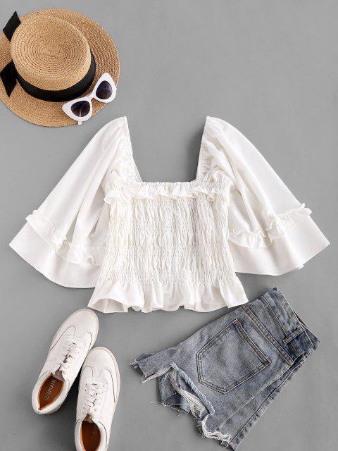 buy ZAFUL Voluminous Sleeve Smocked Ruffles Milkmaid Blouse - WHITE M Mobile