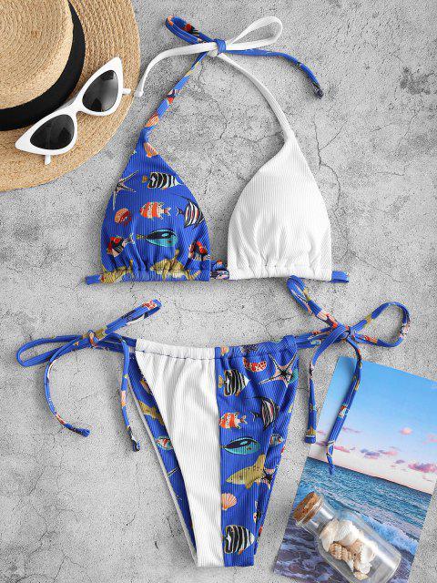 hot ZAFUL Ribbed Marine Life Print Halter String Bikini Swimwear - BLUE S Mobile