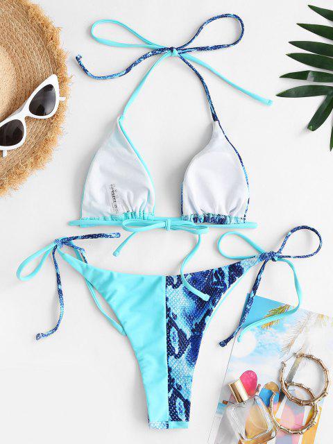 ZAFUL Costume da Bagno Bikini con Stampa Serpente - Blu S Mobile