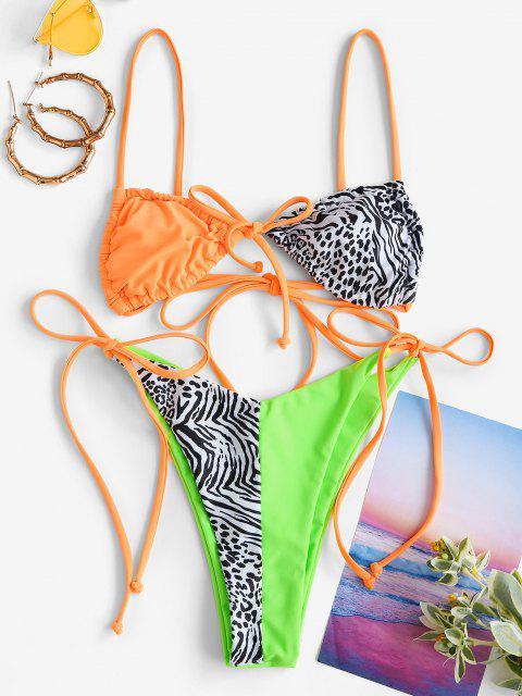 ZAFUL Costume da Bagno Bikini con Stampa Animalier - Multi Colori S Mobile