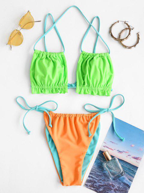women's ZAFUL Colorblock Frilled Gathered Ties String Bikini Swimwear - MULTI L Mobile