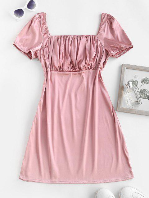 unique ZAFUL Square Collar Silky Satin Ruched Milkmaid Dress - LIGHT PINK S Mobile