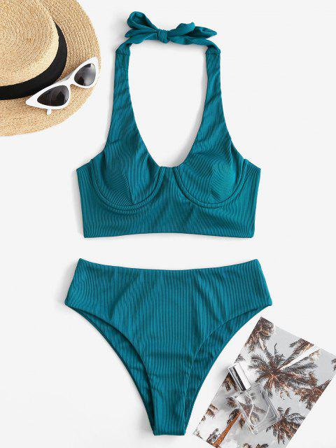 chic ZAFUL Ribbed Halter Underwire Tankini Swimwear - BLUE L Mobile